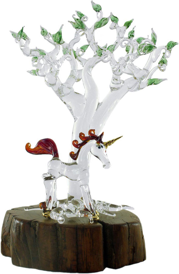 The fairytale scene of a Unicorn by the Enchanted Tree.